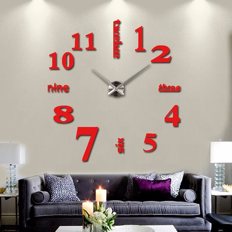 16 new arrival Quartz clocks fashion watches 3d real big wall clock rushed mirror sticker diy living room decor free shipping 8