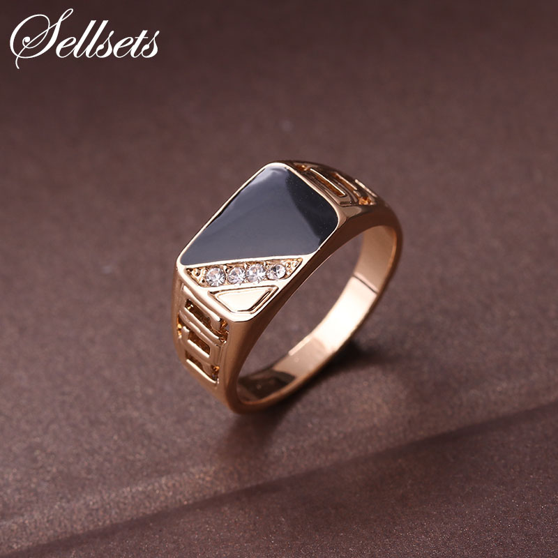 wedding ring man sellsets fashion jewelry classic gold color 9965
