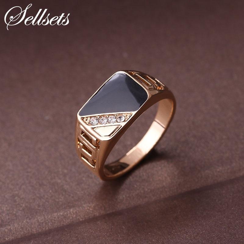 Sellsets Модные мужские изделия классические Золотой Цвет горный хрусталь обручальное кольцо черной эмалью Кольца для Для мужчин для рождественской вечеринки подарок