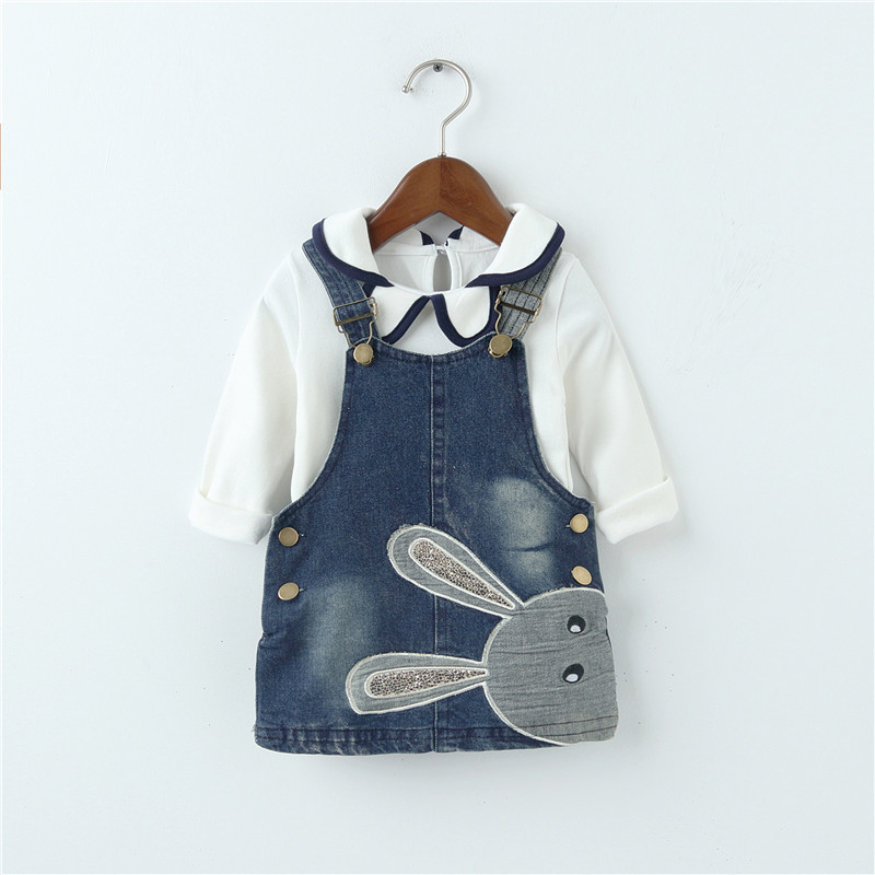 Baby Girls Sets Denim Dress Overalls + T-Shirt Long Sleeves Spring Autumn 1-3Y Kids Rabbit Jean Straps Girl Clothes Clothing 2pcs baby kids girls rabbit bunny green cotton t shirt tops dots denim bib overalls skirts outfit clothes 1 5y