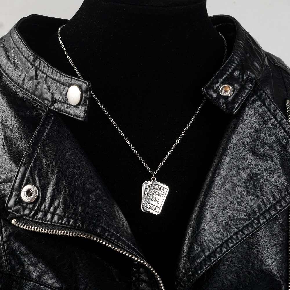 Bilhete de cinema Admitir Um 666 Colar de Prata Pingente de Metal Colar de Bilhetes Duplos Colares Punk Para O Amigo Dos Homens Das Mulheres de Jóias