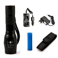 6000 Lumens Flashlight CREE XM L T6 Torch High Power Adjustable LED Flashlight DC Car Charger