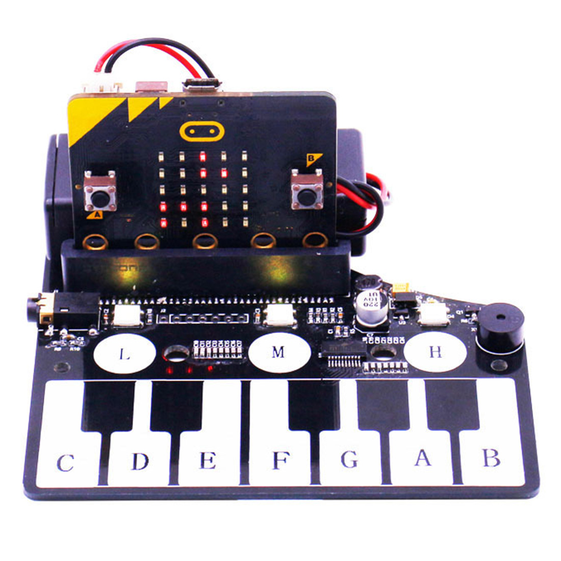Piano Shape Expansion Board Music Development Board With RGB Colored Light Buzzer For Microbit Programmable Toy For Kids