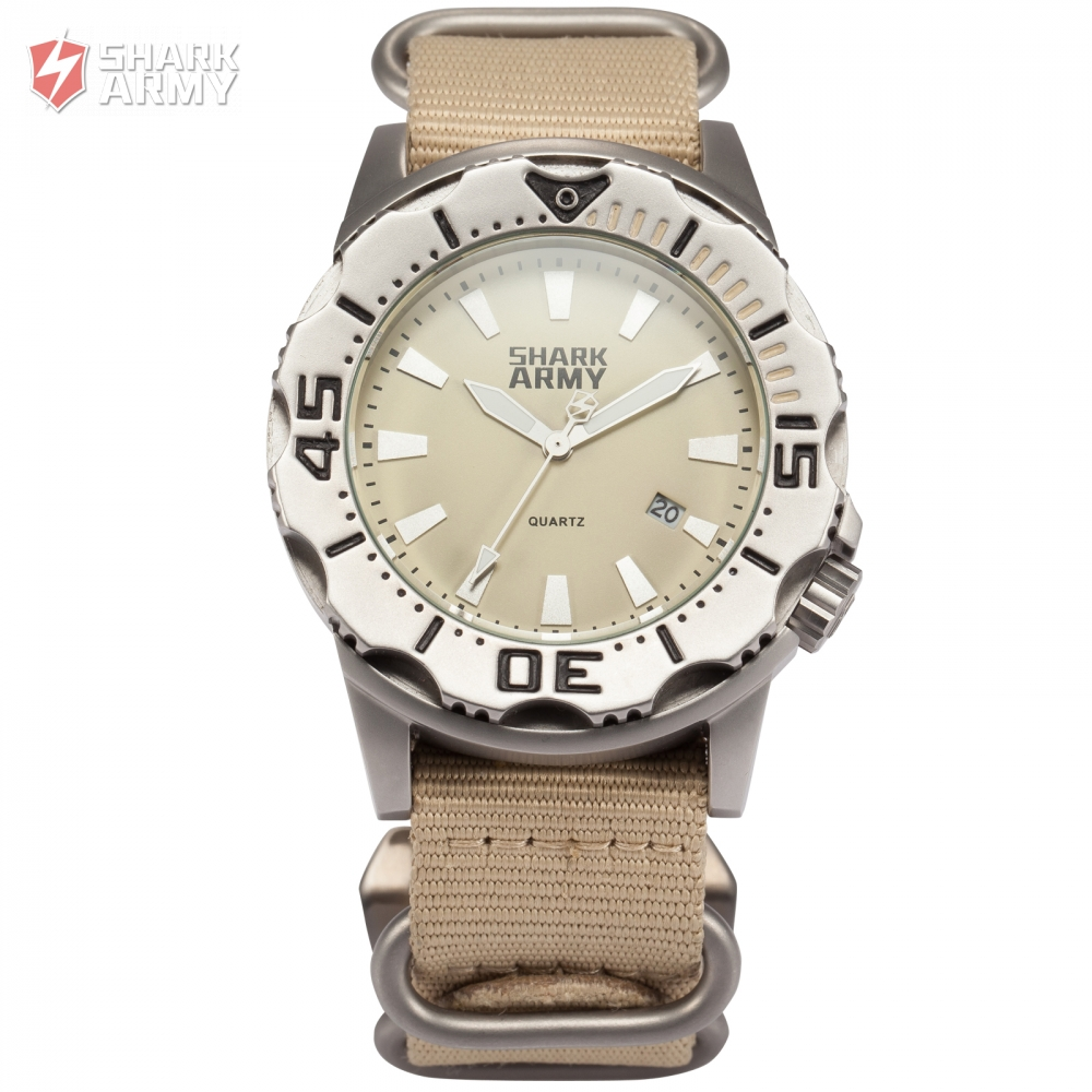 SHARK ARMY Khaki 10ATM Waterproof Auto Date Display Full Steel Luminous Hands Nylon Band Quartz Men