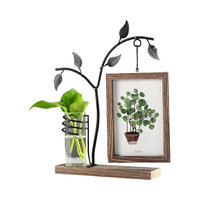 Home Photo Frame Wooden Wedding Pictures Frames With Plant Bottle Double Faces Home Decoration cadre Figurines Photo Frames Gift