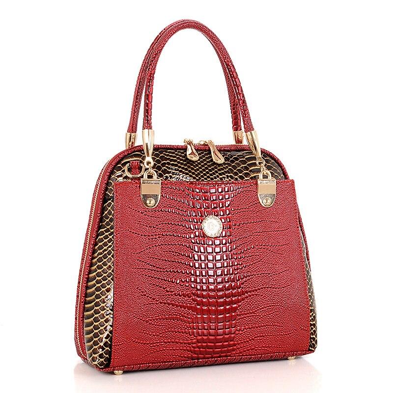 b565e19546465 2018 جديد التمساح حقيبة جلدية فاخرة حقيبة يد المرأة بو الجلود السيدات حقيبة  كتف الشهيرة العلامة التجارية مصمم الإناث حقيبة