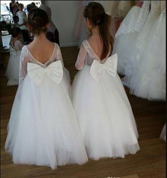 Pure White Tulle Lace First Communion Gowns with Bow Backless Custom Made Flower Girl Dresses For Wedding Girls Parties Vestidos