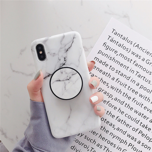 Marble Flexible Stand Holder Case For iPhone XS XS Max X 8 7 6S Plus For Huawei P20 For Samsung S10 Soft IMD Phone Cover 4