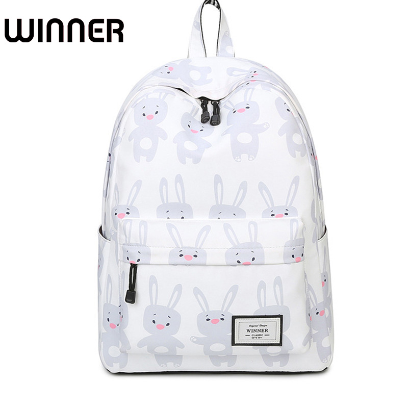 Women Cute Cartoon Animal Printing Backpack Canvas Rabbit Bagpack Bookbag School Bags for Teenage Girls Fresh Backbag Laptop
