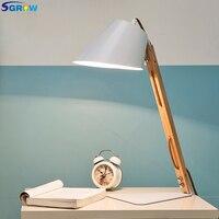 SGROW гладить абажур базы деревянные настольные лампы браке Стол Lights приспособление для Спальня Гостиная кабинет Lampara с E27 лампы