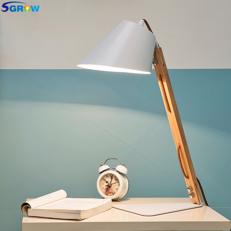 SGROW Iron Lampshade Base Table Lamps Wooden Bracke Desk Lights Fixture for Bedroom Living Room Study Room Lampara with E27 Bulb