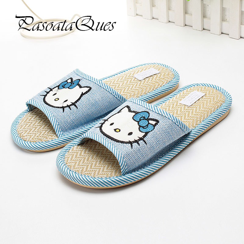 New Hello Kitty Spring Summer Slippers Comfortable Breathable Linen House Home Indoor Women Shoes Pasoataques Brand