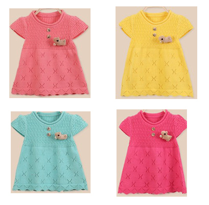 2016 baby dress sweater kids infant vests baby princess sweater 100% cotton baby girls dress free shipping