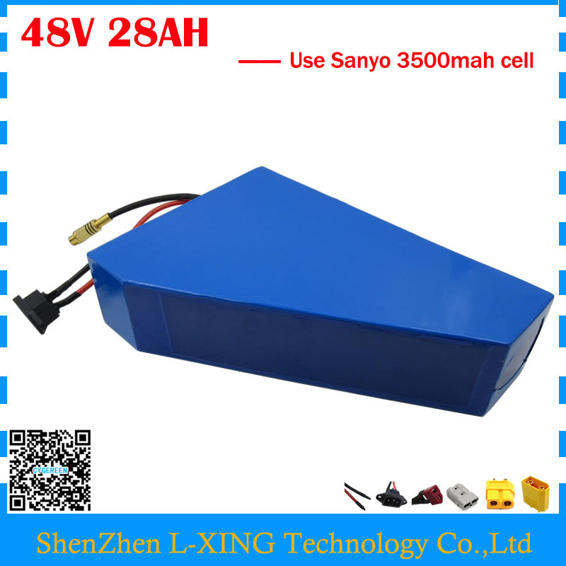 Free customs duty 48V 28AH triangle battery 48V 28AH ebike battery 48V lithium-ion battery use NCR18650GA 3500mah cell 50A BMS 48v 34ah triangle lithium battery 48v ebike battery 48v 1000w li ion battery pack for electric bicycle for lg 18650 cell