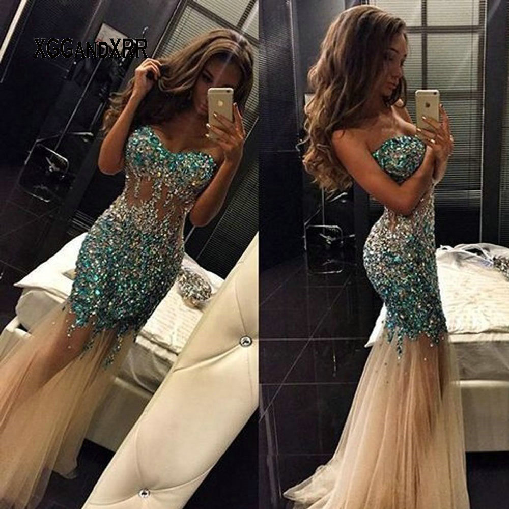 Sexy Sweetheart Champagne Long   Prom     Dress   2019 Elegant Beading Sequin Tulle Evening   Dress   Women Formal Party Gowns Gala   Dress