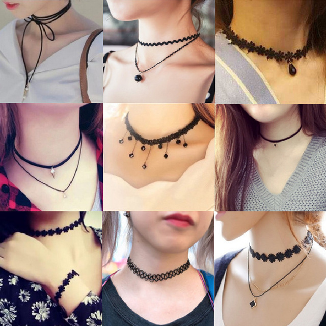 Bijoux Love Vintage Triangle Geometry Tattoo Waterdrop Clavicle Choker Necklace