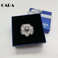 CARA New arrival Srebrny kolor stop cynkowy Kwiat Śniegu pin broszka kobiety Bling Bling pełne dżetów kobiet mody broszka CARA0238