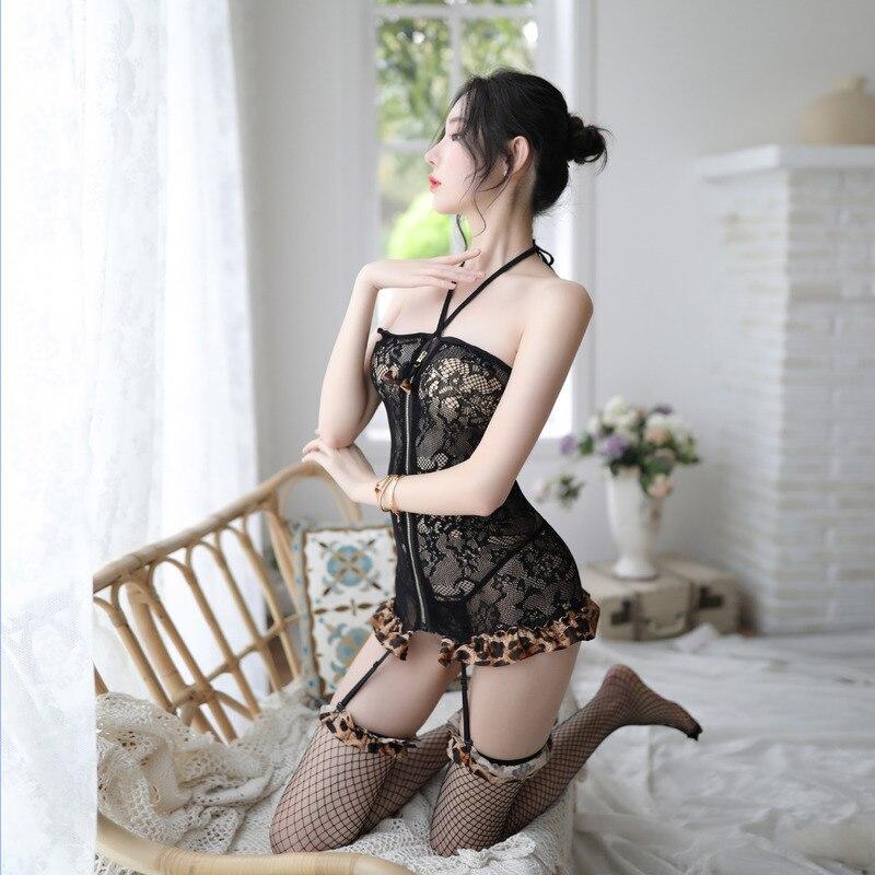 Leopard erotic lingerie sex skirt uniform temptation suit erotic lace fishnet garter thong cosplay japanese lingerie estudiantes
