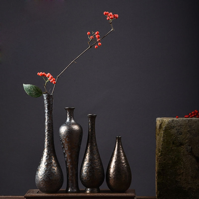 Jingdezhen Vase Japanese Retro Coarse Pottery Flower Appliance