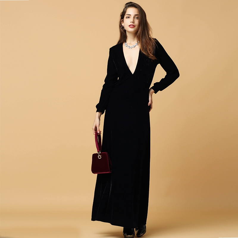 Black Velvet Long Sleeved Plunge Neck Maxi Dress