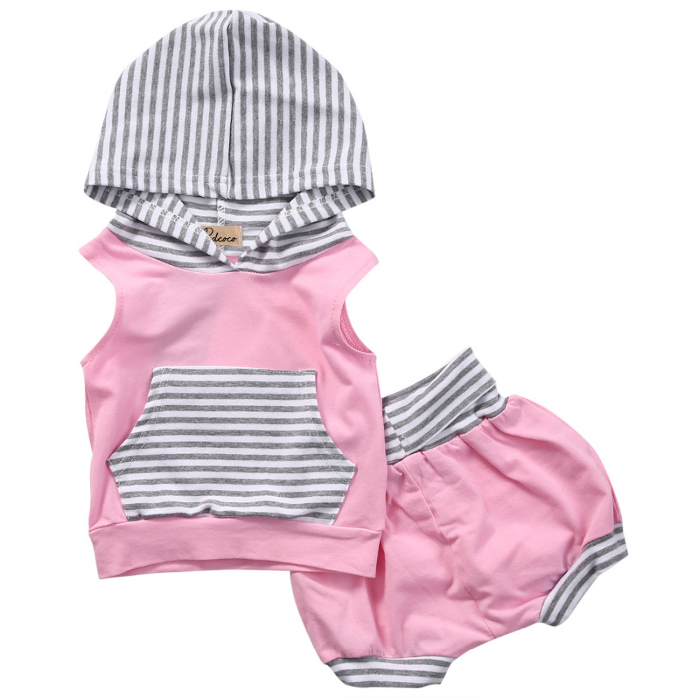 Newborn Baby Girls Boy Striped Sleeveless Tops Hooded Vest Pants Shorts Pink Outfits Set Striped Clothes