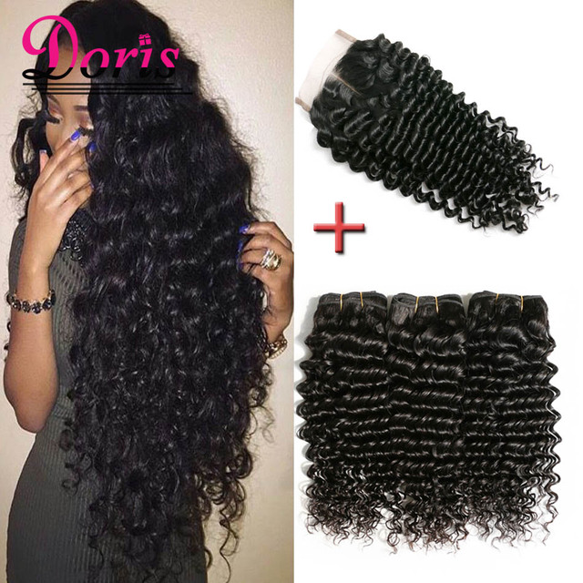 Raw Indian Curly Virgin Hair With Closure Deep Curl Indian Virgin Hair With Closure Unprocessed Human Hair Bundles With Closure