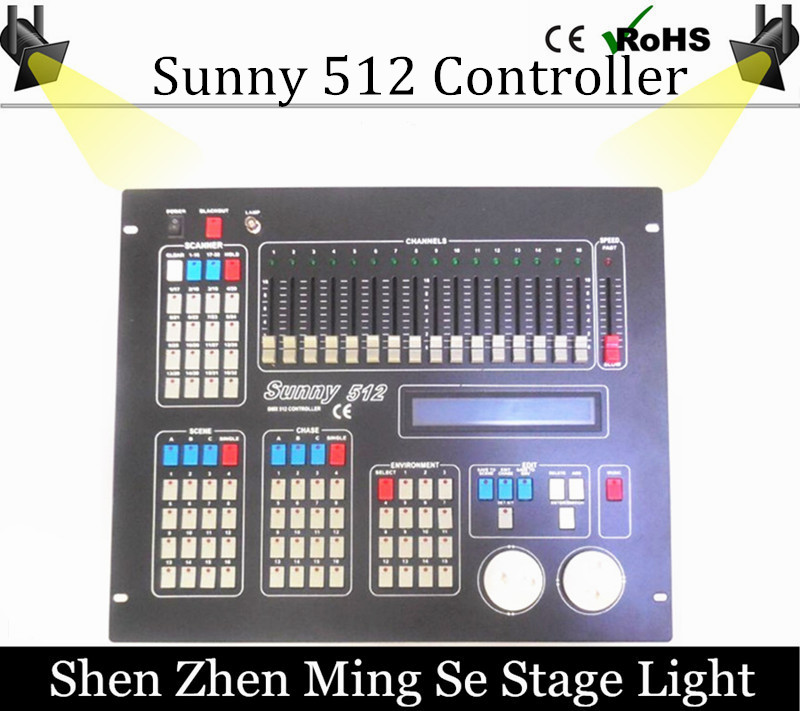 China supplier New sunny 512 dmx stage light controller sunny 512 computer console for dj lights with fly case