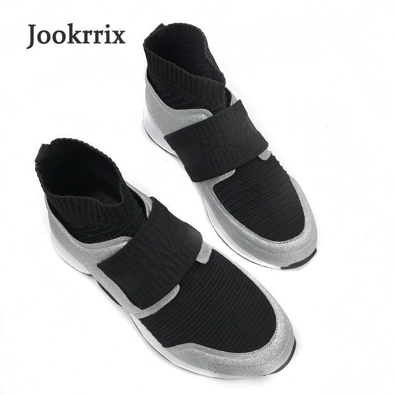 Jookrrix 2018 New Arrival Spring Fashion Brand Lady Casual Shoes Women Black Sneaker Girl Leisure Shoe Soft Breathable Silver