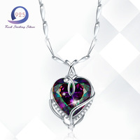 Merthus 2ct Mystic Rainbow Topaz Heart Shape Wire Wrapped Pendant Necklace For Women