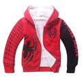 Newest Spider Man Cartoon Children Autumn Winter Hoody Thick Coat Double Coral Cotton Velvet Zipper Outfit for 4-12y