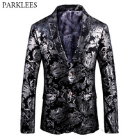 Black Velvet Blazer Men Paisley Suit Jacket Casual Business Blazers Men Party Wedding Blazer Male Stage Singer Perform Clothes