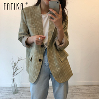 Fatika 2019 Spring Autumn Casual Stylish Blazer Notched Single Button Long Sleeve Outerwear Lady Blazers For Ladies