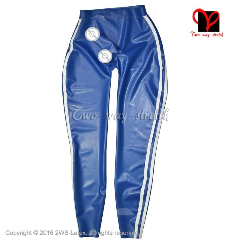 Bleu avec des rayures blanches Latex Legging Sexy en caoutchouc pantalon avec gaine de pénis en caoutchouc pantalon KZ-148