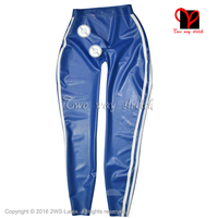 Blue With White Stripes Latex Legging Sexy Rubber pants with Penis sheath Rubber Trouser KZ 148