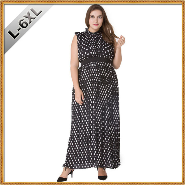 88ee153d29a4 Women Summer Elegant Beach Chiffon Clothing Bohemian White Dot Maxi Long  Party Casual Dress Plus Size 5XL 6XL Vestidos