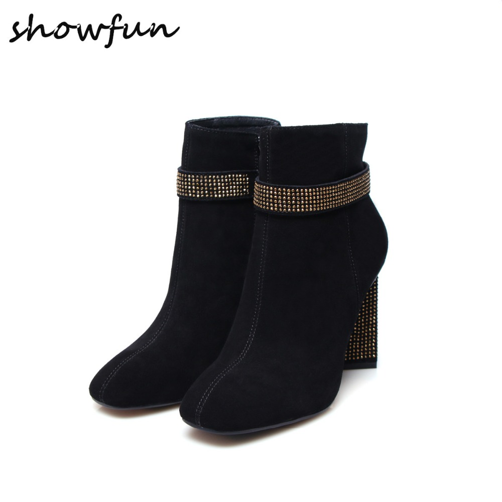 Women's Genuine Suede Leather Thick High Heel Autumn Ankle Boots Brand Designer Rhinestones High Quality Short Booties Shoes Hot