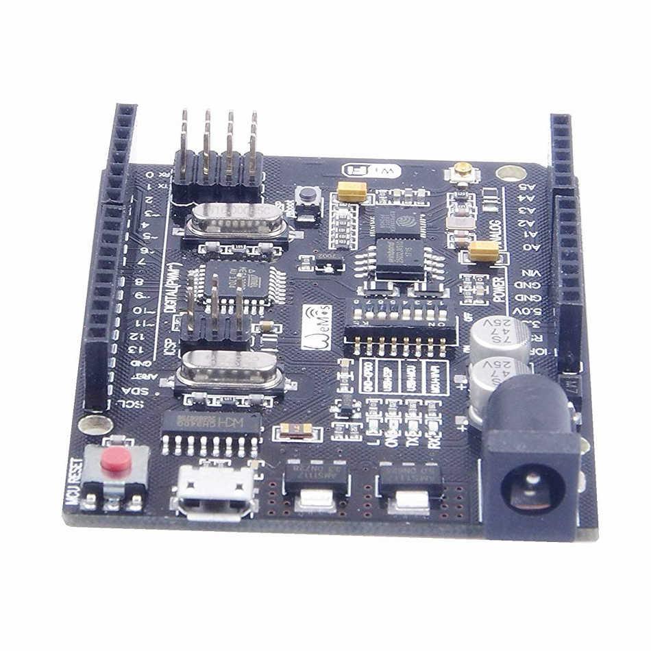 UNO + WiFi R3 ATmega328P + ESP8266 32Mb الذاكرة USB-TTL CH340G لاردوينو Uno NodeMCU WeMos ESP8266