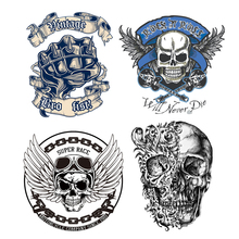 Heat Transfer Vinyl Punk Rock Patch Stickers for Clothing DIY T-shirt Dresses Applique Iron-on Transfers Skull Letter Patches