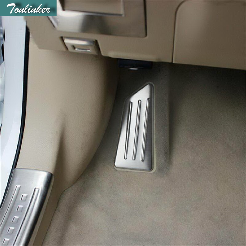 Tonlinker 1 PCS DIY Car Styling New Stainless Steel Main Driving Break Pedal Case stickers For TOYOTA Corolla Altis 2014 parts new 1 18 toyota corolla altis 2014 11th generation classic edition zinc alloy model car christmas new year gifts