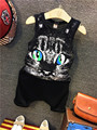 2016 Summer Girls Kids Leisure Sports Cartoon Cat Print Vest + Baggy Pants Suitcomfortable baby Clothes Children Clothing 20W