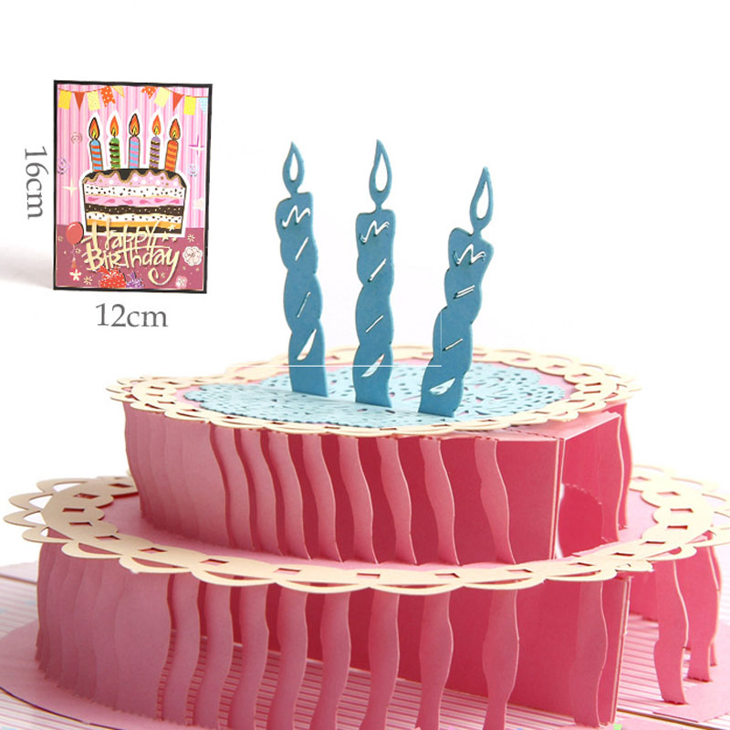 3D Handmade Colorful Cover Happy Birthday Candle Cake Paper Greeting Cards PostCard Birthday Party Girlfriend Creative Gift birthday cake