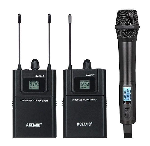 Tüketici Elektroniği'ten Mikrofonlar'de ACEMIC UHF 740 770 MHz Gerçek çeşitlilik kamera kayıt mikrofonu el yaka mikrofonu röportaj için TV/kısa film üretmek