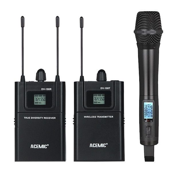 ACEMIC UHF 740-770MHz True diversity camera recording microphone handheld lavalier mic for interview TV / short movie produce