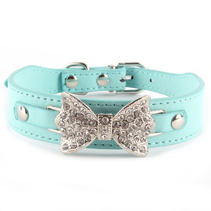 Small Pet Dog Puppy Collar Solid PU Leather Crystal Bowknot Collars Buckle Choker Adjustable Dog Collar Neck Strip(China)