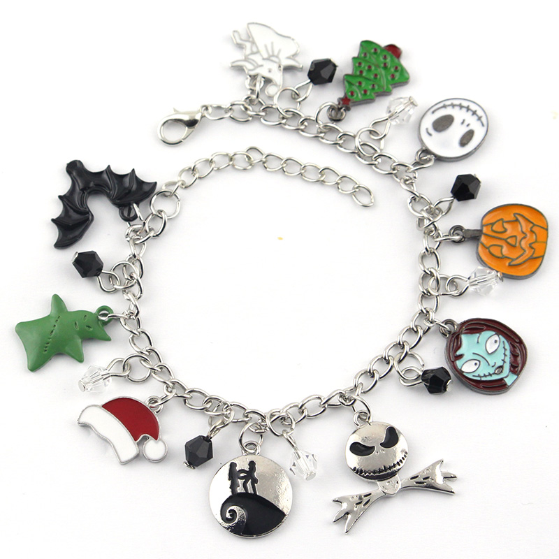 6bc67834962e8 Free shipping 1pc a lot The Nightmare Before Christmas Halloween Jack  Skellington Sally Snowflakes Skull Pumpkin Charm Bracelet