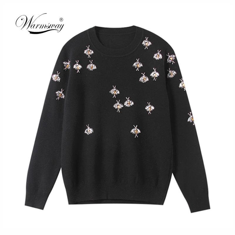 2020 Luxury Brand Autumn Winter Black Sweaters Pullovers Knitted Women Christmas Runway Bee Diamond Jumper Ladies Clothes C-418