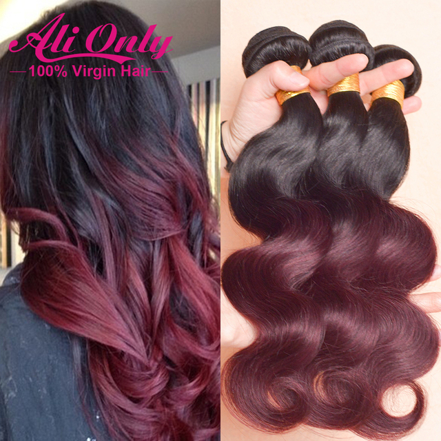7A Ombre Hair Extensions Brazilian Body Wave 3 Bundles 1b/Burgundy Brazilian Virgin Hair Ombre Brazilian Hair Remy Human Hair