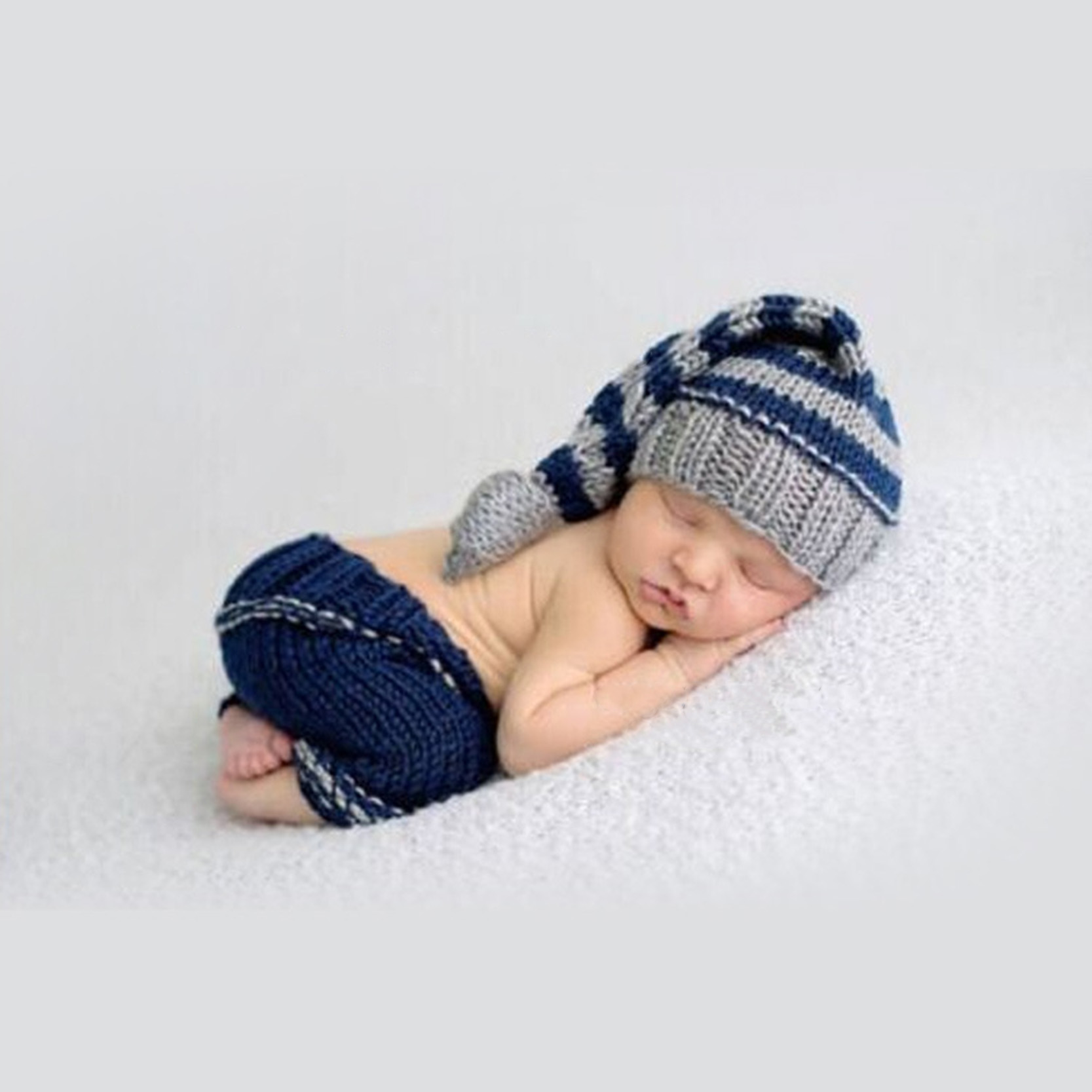 b671de9b157 Newborn Baby Photography Props Soft Baby Clothes Knit Cute Blue Hat ...