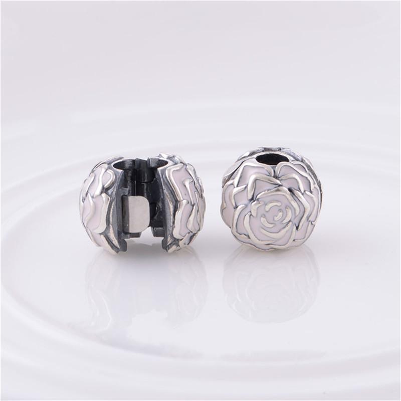 Enamel Rose Silver Clip Charm Beads European Original 100% 925 Sterling Silver Beads Fits Pandora Charm Bracelets & Bangles KT081-N (4)