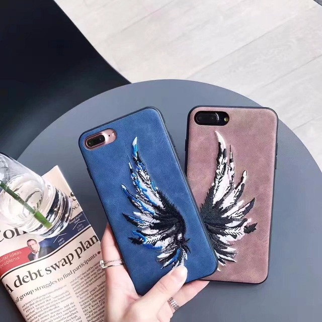 finest selection 94e56 66dce US $4.78 |Handmade Embroidery Couple Angel Wings Retro Cell Phone Case For  iphone 7 i7 Case Luminous Shell Phone Case Protect Back Cover -in ...
